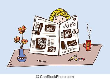 chá, jornal, tabela, leitura menina, caricatura