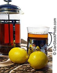 chá limão, chaleira, assalte, pretas, whith
