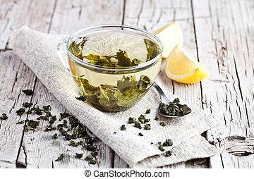 chá, limão, verde, copo