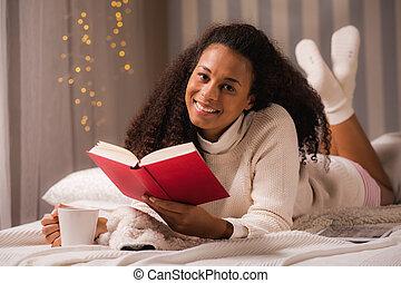 chá, livro, relaxe