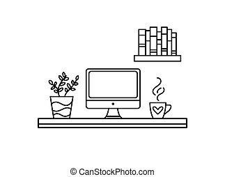 chá, local trabalho, vetorial, cozy, lar, planta