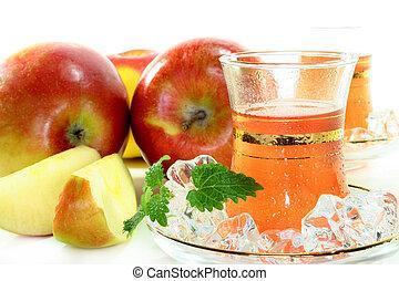 chá, maçã, gelo