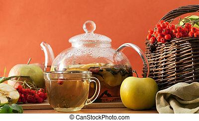 chá, maçãs