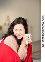 chá, mulher, mesma, warming, copo
