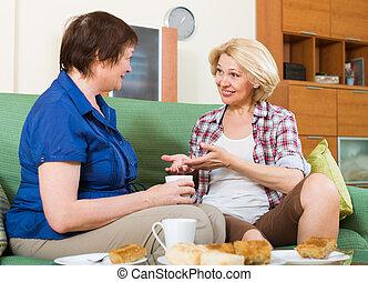 chá, mulheres, idoso, tabela