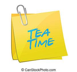 chá, poste, mensagem, ilustração, tempo