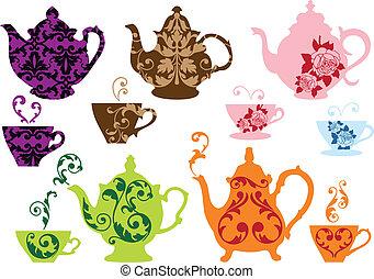 chá, potes, e, copos, com, padrão