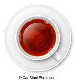 chá, pretas, copo