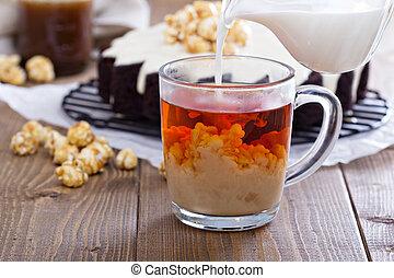 chá, pretas, leite, copo