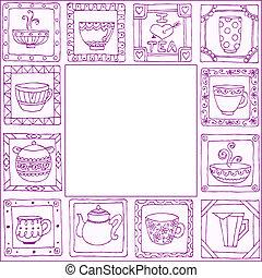 chá, quadro, potes, mão, desenho, desenhado, copos
