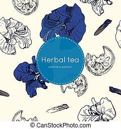 chá, seamless, secado, padrão, herbário, tailandês