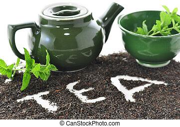 chá, solto, composição