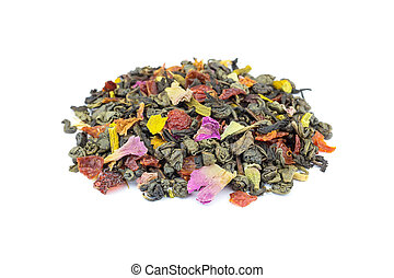 chá, solto, isolado, fundo, biológico, meditação, branca