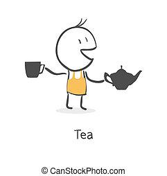 chá, sujeito, bebidas