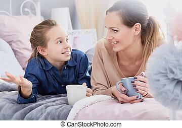 chá tarde, com, filha