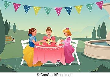 chá, tendo, meninas, jovem, partido