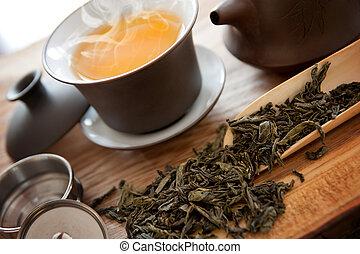 chá, verde, acessórios, copo