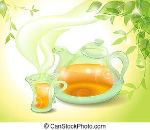 chá verde, em, a, manhã