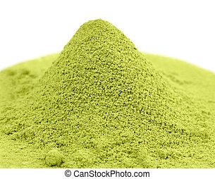 chá, verde, japoneses, matcha, pó