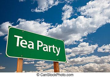 chá, verde, partido, sinal estrada