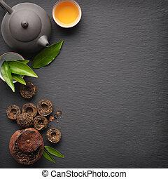 chá, verde, pu-erh