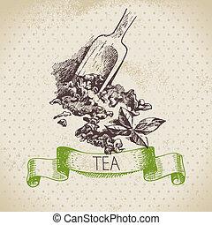 chá, vindima, experiência., mão, desenhado, esboço,...