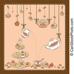 chá, vindima, jogo, cakes., doce