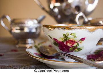 chá, vindima, jogo, xícara prata