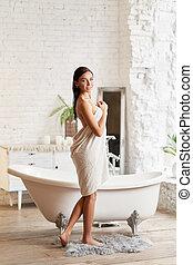 chápat, neposkvrněný, kolem, bath., erotický, děvče, dobytí,...