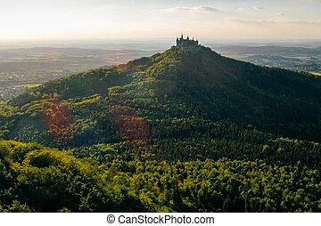 château, aérien, célèbre, germany., vue, hohenzollern