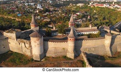 château, aérien, kamianets, bourdon, podilskyi, ukraine., perspective