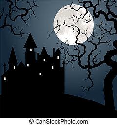 château, arbre, lune