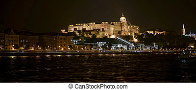 château, budapest, vue, haut, secteur