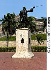 château, cartagène, statue, avant