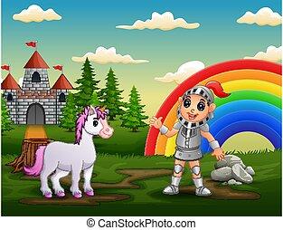 château, chevalier, yard, licorne