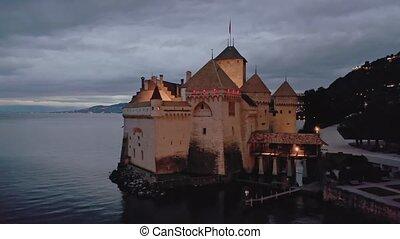 château, chillon, lac, moyen-âge, vue, suisse, crépuscule, genève