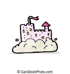 château, ciel, dessin animé
