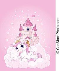 château, ciel, licorne