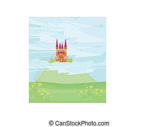 château, ciel, magie