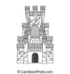 château, coloration, book:, moyen-âge
