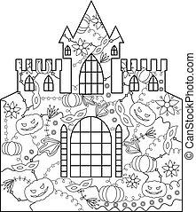 château, coloration, halloween
