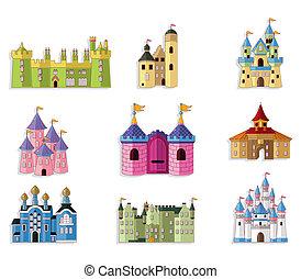 château conte fées, dessin animé, icône