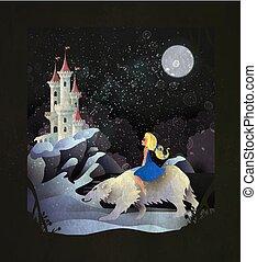 château, conte fées, girl, équitation, ours blanc, devant, illustration, hiver