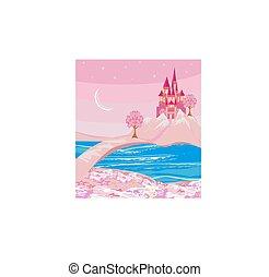château, conte fées, terre, magique, paysage