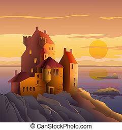château, coucher soleil, côte