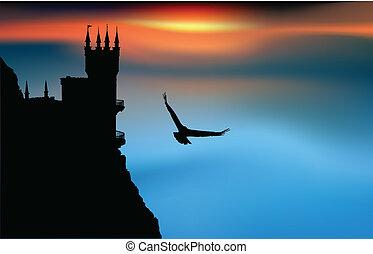 château, coucher soleil