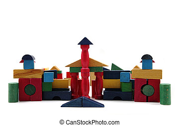 château, couleur, bois, briques