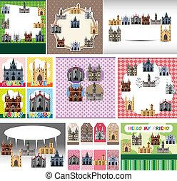 château, dessin animé, carte