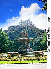 château edimbourg, fontaine, ecosse, ross
