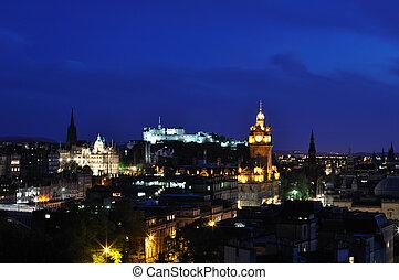 château edimbourg, vue, nuit